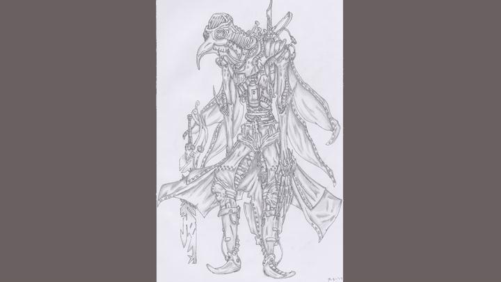 Een schets van de jonge tekenaar